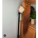 10A Orange Curly Human Hair Lace Wigs Pre Plucked Hairline