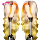 Transparent Lace Colored Human Hair Wigs Brazilian Remy Body Wave Ombre Blonde Lace Front Wig Pre Plucked With Baby Hair