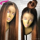 Virgin Hair Wigs Glueless Silky Straight Ombre Color Lace Front Wigs with Baby Hair