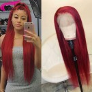 Red Remy Human Hair Wigs Silky Straight Color Lace Wigs Pre Plucked Hairline