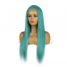 Mint Green Glueless Lace Wigs Brazilian Remy Straight Human Hair Wigs Pre Plucked Hairline