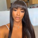 Carina Customized 10A 18-26 Inch Straight Human Hair Lace Wigs with Bangs Brazilian Remy Human Hair