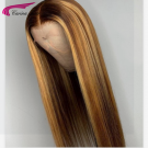 Straight Human Hair Wigs with Highlights Glueless Ombre Lace Wigs