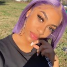 Carina Customized Dark/Light Purple Bob Wigs Pre Plucked Human Hair Full Lace Wigs with Baby Hair