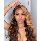 Carina Customized Highlights Body Wave Human Hair Wigs Pre Plucked with Baby hair