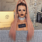 Carina Customized T4/Pink Lace Front Straight Wigs Brazilian Remy Human Hair Full Lace Wigs