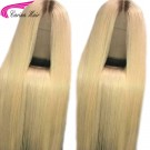 Ombre Blonde Human Hair Lace Front Wigs T4#/613 Brazilian Remy Full Lace Wig