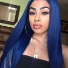 Carina Customized Blue Silky Straight Lace Wigs Pre Plucked Hairline