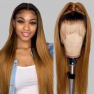 Carina 10A 4/27 Silky Straight Human Hair Wigs Ombre Lace Front Wigs Pre Plucked