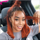 Ombre Orange Bob Wigs Remy Human Hair Lace Front Wigs