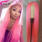 Carina Customized Pink Straight Remy Human Hair Lace Front Wigs Pink Full Lace Wigs