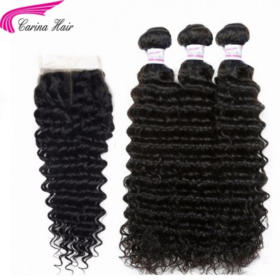 10A Deep Wave Brazilian Hair Weave 3 Bundles with 4x4 Lace Closure Free Part Natural Color