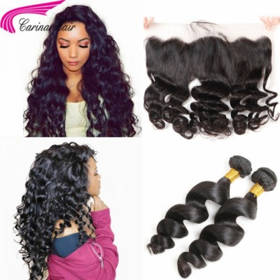 Loose Wave Brazilian Hair Weave 2 Bundles with 13*4 Ear to Ear Lace Frontal Free Part