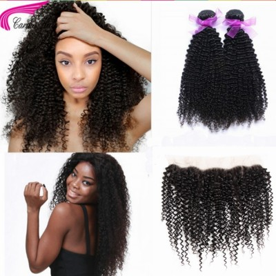Kinky Curly Brazilian Hair Weave 2 Bundles with 13x4 Lace Closure Free Part