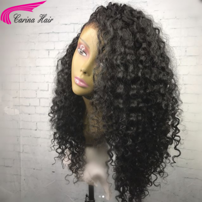 Carina Customized Deep Curly Brazilian Human Hair Lace Wigs with Baby Hair