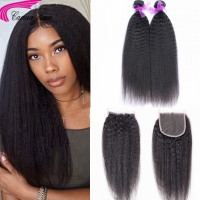 Kinky Straight Brazilian Hair Weave 2 Bundles with 4x4 Lace Closure Free Part