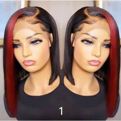 Carina Customized 10A Highlights Bob Wigs Virgin Hair Lace Wigs Pre Plucked Hairline