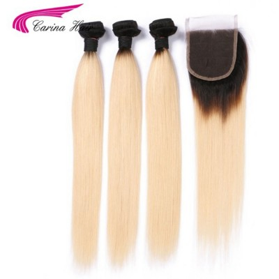Remy Human Hair Ombre Color 1B/613 Hair Wefts 3 Bundle with 4*4 Lace Closure