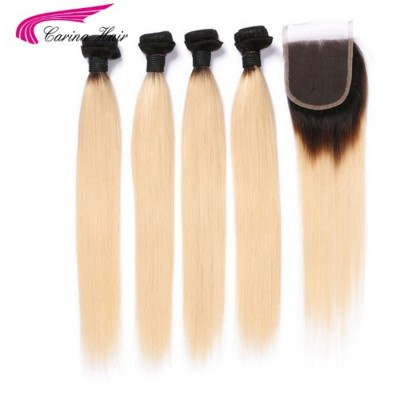 Brazilian Remy Human Hair Ombre Blonde Hair 4 Bundles With 4*4 Lace Closure 1B/613 Hair Wefts