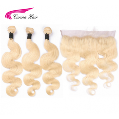 Blonde Pure 613 Hair Wefts 3 Bundle with 13*4 Ear to Ear Lace Frontal