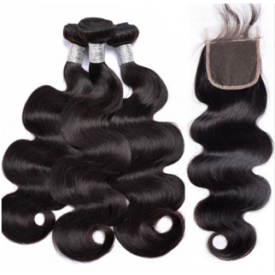 10A Body Wave Brazilian Hair Weave 3 Bundles with 4x4 Lace Closure Free Part