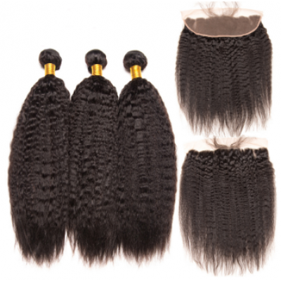 Carina Kinky Straight Brazilian Hair Weave 3 Bundles with 13*4 Ear to Ear Lace Frontal Free Part
