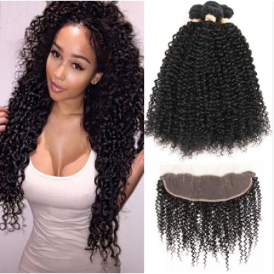 Kinky Curly Brazilian Hair Weave 4 Bundles with 13x4 Lace Closure Free Part