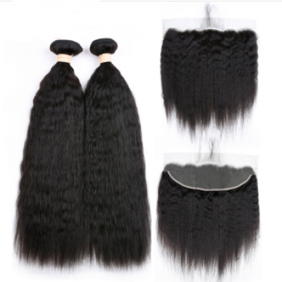 Kinky Straight Brazilian Hair Weave 2 Bundles with 13x4 Lace Closure Free Part