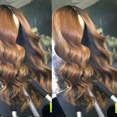 Ombre Color Human Hair Wigs Body Wave Lace Wigs with Baby Hair