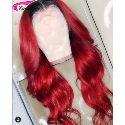 Ombre Red Lace Front Wigs Brazilian Wave Human Hair Full Lace Wigs Pre Plucked Hairline