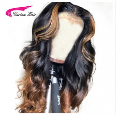 Brazilian Loose Deep Lace Front Human Hair Wigs PrePlucked Honey Blonde Remy Ombre Color Glueless Wig With Highlight