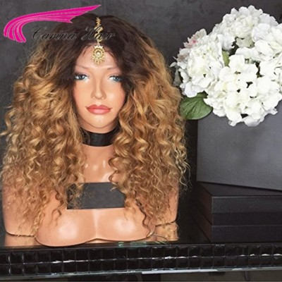 Brazilian Virgin 1B27 Kinky Curly Human Hair Lace Front Wigs With Baby Hair Pre-plucked Hairline