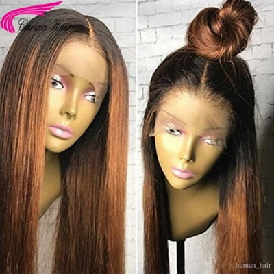 Malaysian Remy Human Hair Wigs Glueless Silky Straight Ombre Color  Lace Front Wigs With Baby Hair