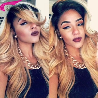Body Wave T1B/27# Ombre Color Lace Front Wigs Peruvian Remy Human Hair Wigs with Baby Hair
