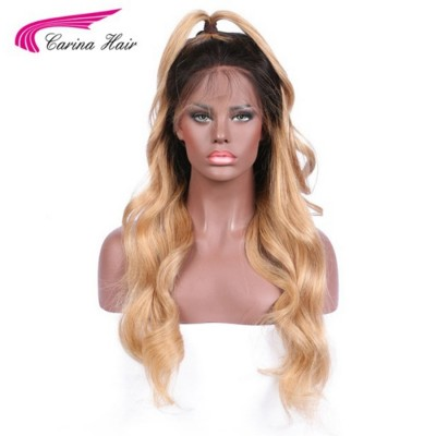 Carina Body Wave T1B/27# Ombre Color Lace Front Wigs Peruvian Remy Human Hair Full Lace Wigs with Baby Hair