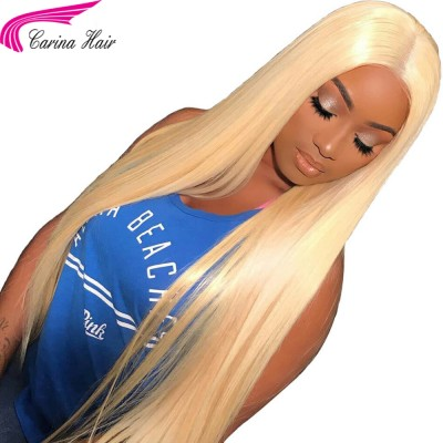 Brazilian Remy Straight Pure 613 Blonde Human Hair Lace Front Wigs With Baby Hair Bleached Knots