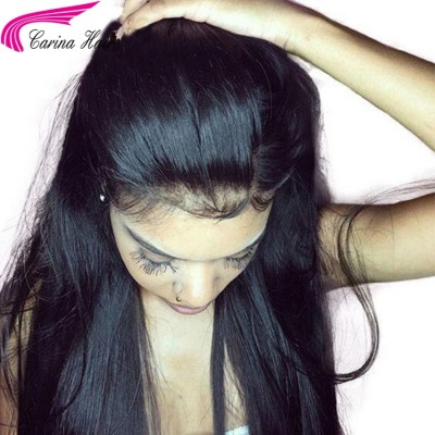 Silky Straight 360 Lace Wig Brazilian Virgin Glueless Human Hair Wigs With Baby Hair High Ponytail