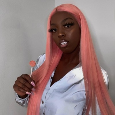Carina Customized Pink Straight Lace Front Wig Pre-Plucked Hairline with Baby Hair Glueless Wigs