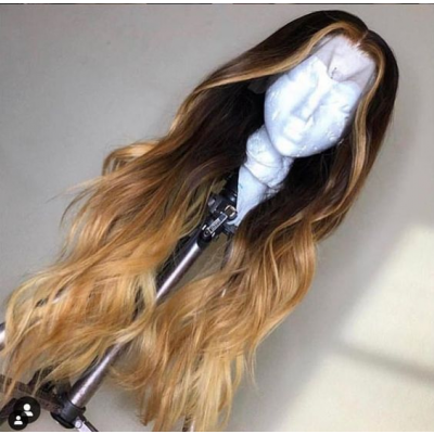 18-26 Inches Ombre Remy Human Hair Wigs Vigin Human  Hair Wave With Baby Hair  Lace Wigs Pre Plucked Hairline