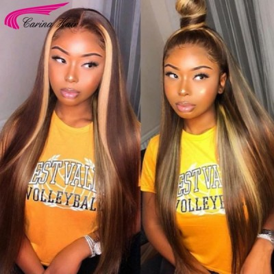 Carina Customized Highlight Virgin Hair Lace Wigs for Women Straight Front Lace Wigs
