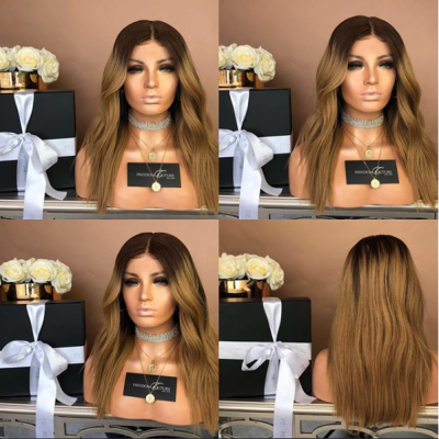 Carina Customized Natural Wave Ombre Color Lace Front Wigs Peruvian Remy Hair Full Lace Wigs Pre Plucked Hairline