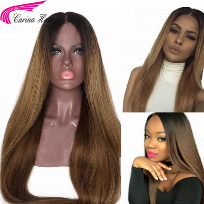 Ombre Color Human Hair Lace Wigs Pre-Plucked Hairline Remy Brazilian Hair Glueless Wigs