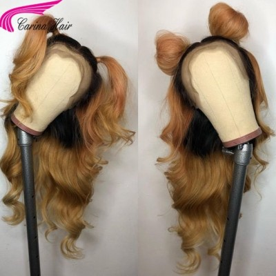 Ombre Color Human Hair Lace Front Wigs Loose Wave Full Lace Wigs Pre Plucked Hairline
