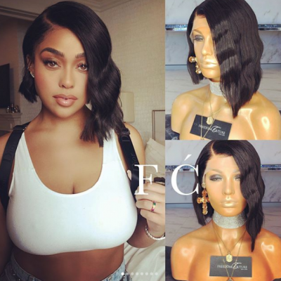 Short Glueless Lace Wigs with Baby Hair Wave Brazilian Remy Human Hair Wigs Pre-Plucked Hairline