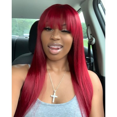 Carina Customized Red 360 Virgin Hair Wigs with Bangs Pre Plucked Hairline