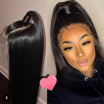 HD Lace 10A Virgin Straight Human Hair Wigs Pre Plucked with Baby Hair