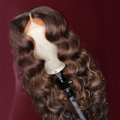Carina Customized 10A Wave Highlights Color Virgin Hair Lace Front Wigs Pre-Plucked Hairline