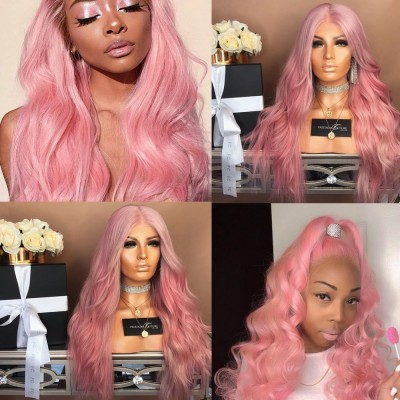 Pink Glueless Lace Wigs Brazilian Remy Wave Human Hair Wigs Pre Plucked Hairline