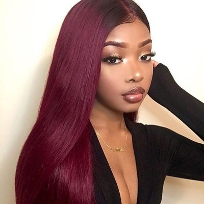 Carina Customized 1B/99J  Human Hair Lace Front Wigs with Baby Hair