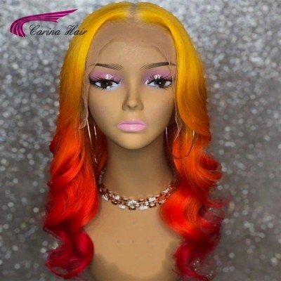 Carina Ombre Color Virgin Human Hair Lace Wigs with Baby Hair Pre Plucked